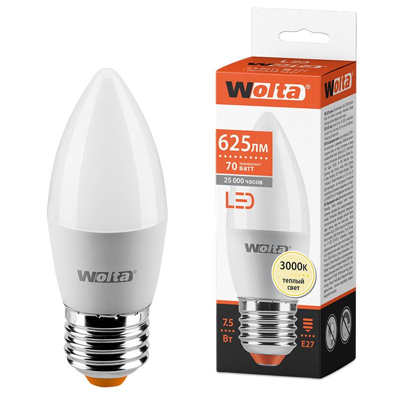 Светодиодная лампа WOLTA 25YC7.5E27 7.5Вт 3000K E27