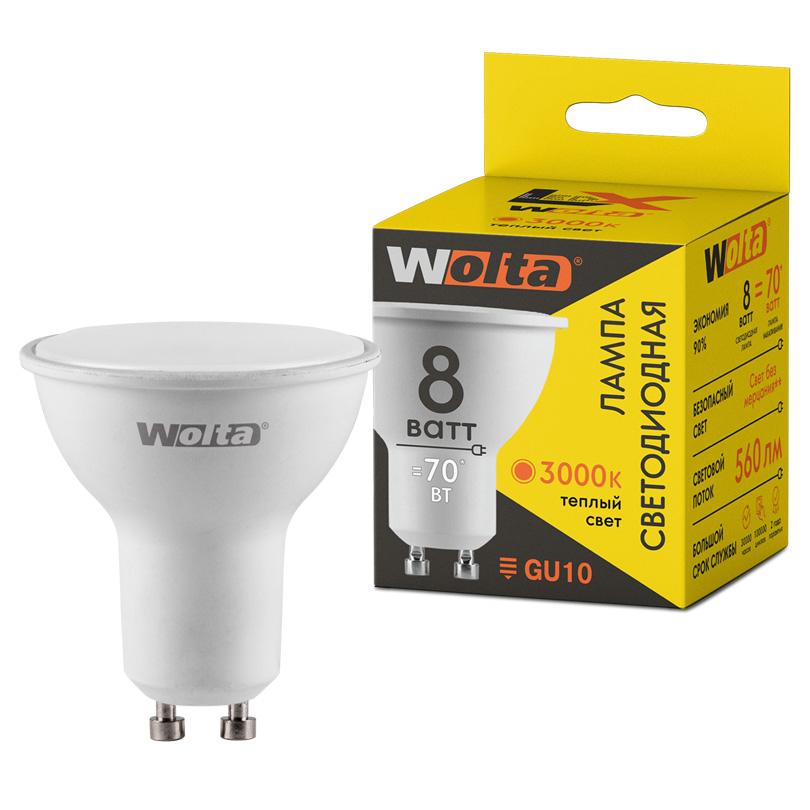 Светодиодная лампа WOLTA LX 30YPAR16-230-8GU10 8Вт 3000K GU10