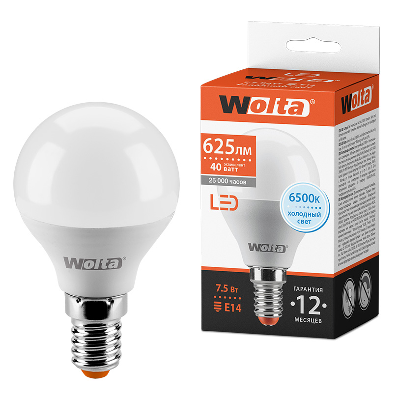 Светодиодная лампа WOLTA 25W45GL7.5E14 7.5Вт 6500K E14