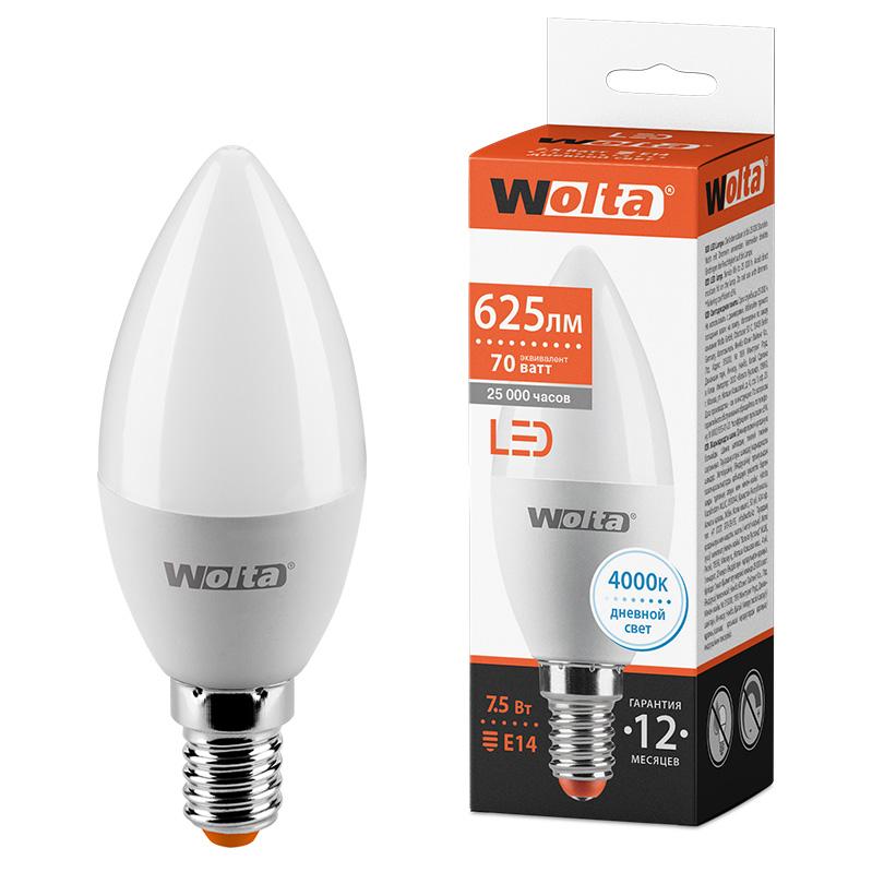 Светодиодная лампа WOLTA 25SC7.5E14 7.5Вт 4000K E14