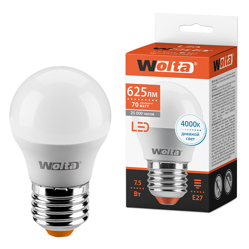 Светодиодная лампа WOLTA 25S45GL7.5E27 7.5Вт 4000K E27