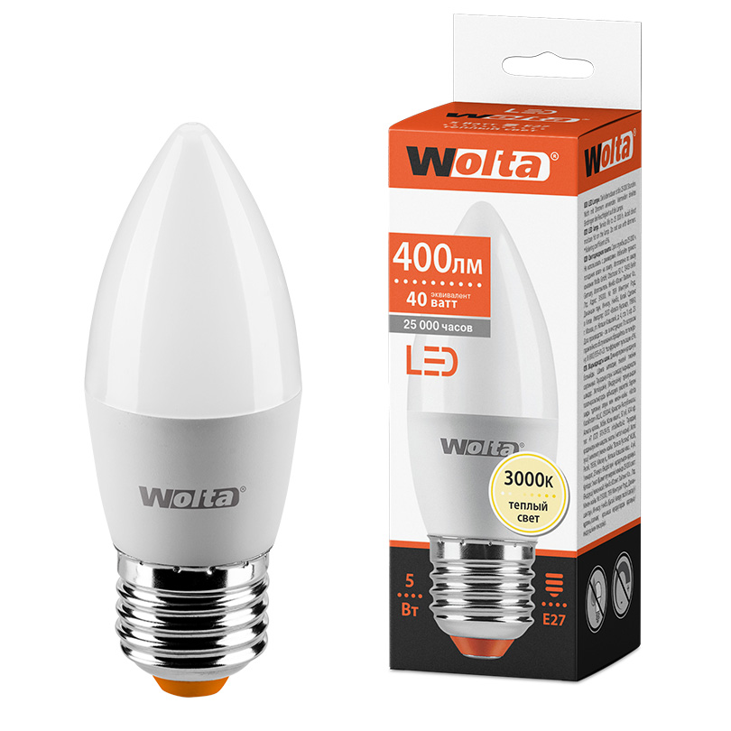 Светодиодная лампа WOLTA 25YC5E27 5Вт 3000K E27