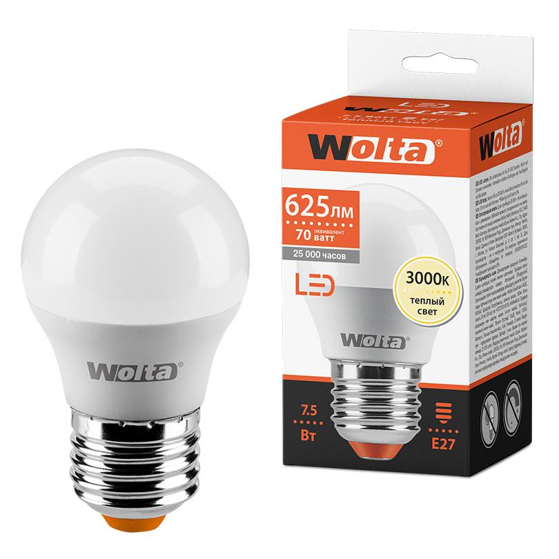 Светодиодная лампа WOLTA 25Y45GL7.5E27 7.5Вт 3000K E27