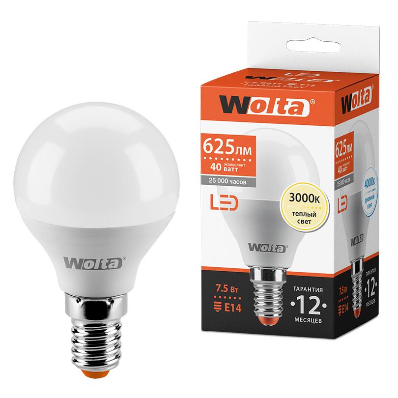 Светодиодная лампа WOLTA 25Y45GL7.5E14 7.5Вт 3000K E14