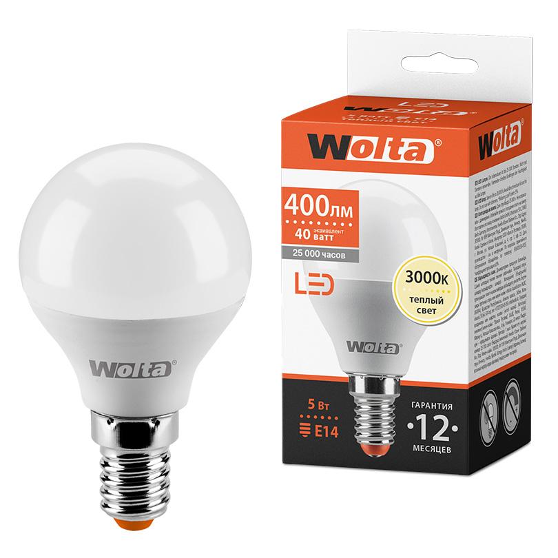 Светодиодная лампа WOLTA 25Y45GL5E14 5Вт 3000K E14