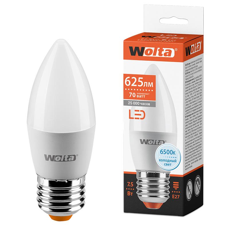 Светодиодная лампа WOLTA 25WC7.5E27 7.5Вт 6500K E27