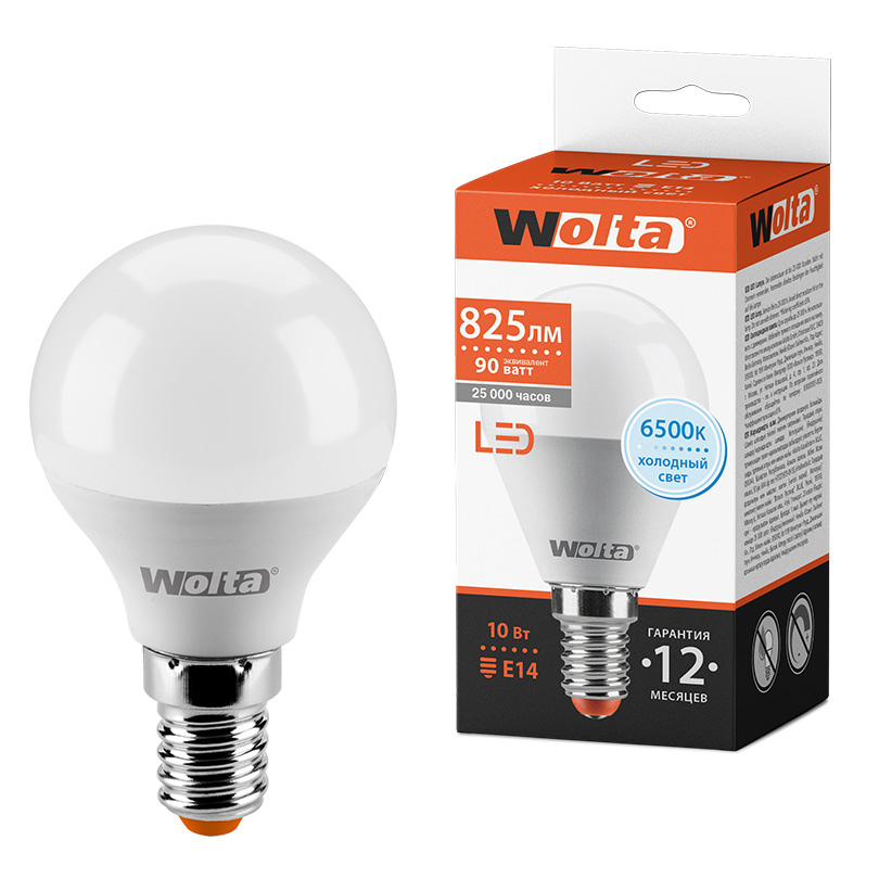 Светодиодная лампа WOLTA 25W45GL10E14 10Вт 6500K E14