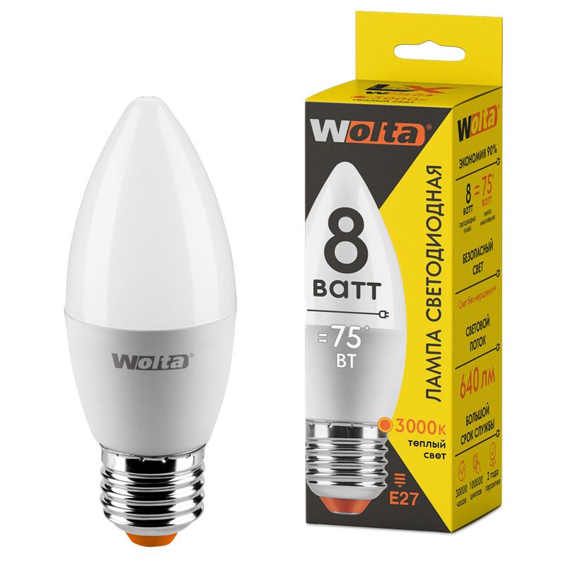 Светодиодная лампа WOLTA LX 30YC8E27 8Вт 3000K Е27