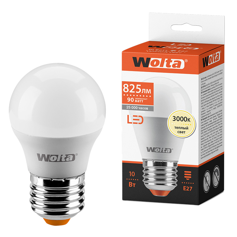 Светодиодная лампа WOLTA 25Y45GL10E27 10Вт 3000K E27