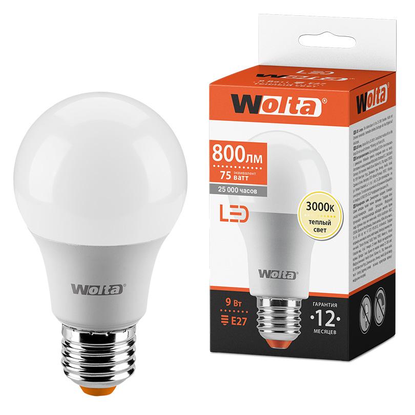 Светодиодная лампа WOLTA 25Y60BL9E27 9Вт 3000К E27